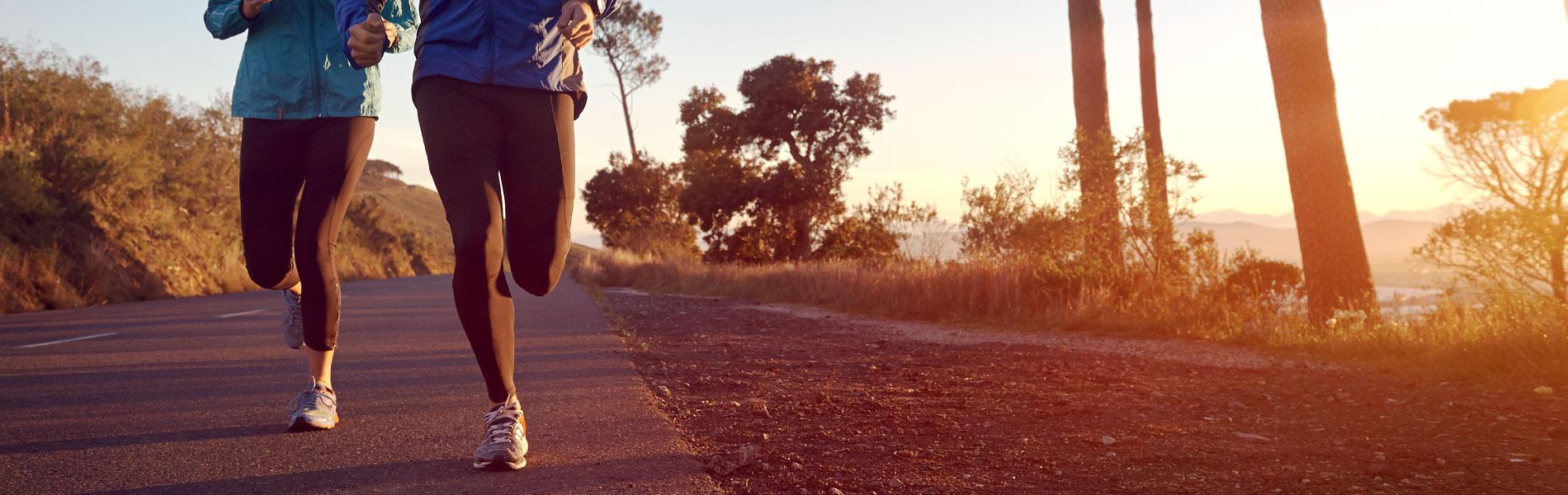 Marathon runners training outdoors